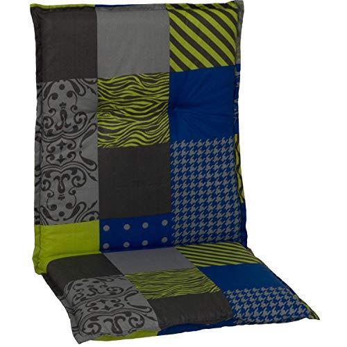 Beo Gartenmöbel Auflage für Niedriglehner Ornamente Linien gelb blau grau M652