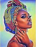 Pintar Por Numeros Adultos Mujer Africana Diy Pintura Al Óleo,Pintura Por Kits De Números Para Adultos Principiantes Arte Decoración Del Hogar Sin Marco 16 * 20 Pulgadas