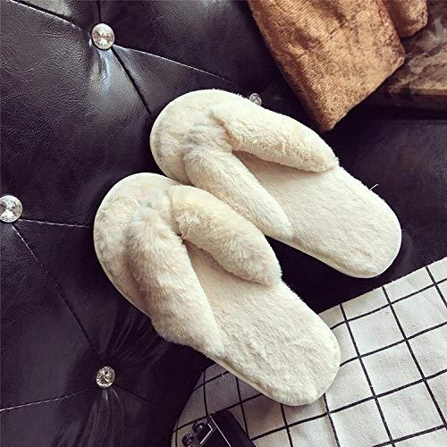 Espuma de Memoria Invierno Pantuflas,Pantuflas de algodón de Felpa de Fondo Grueso, Chanclas para el Interior de la casa-Creamy-White_40-41,Medio Paquete con Zapatillas de Algo