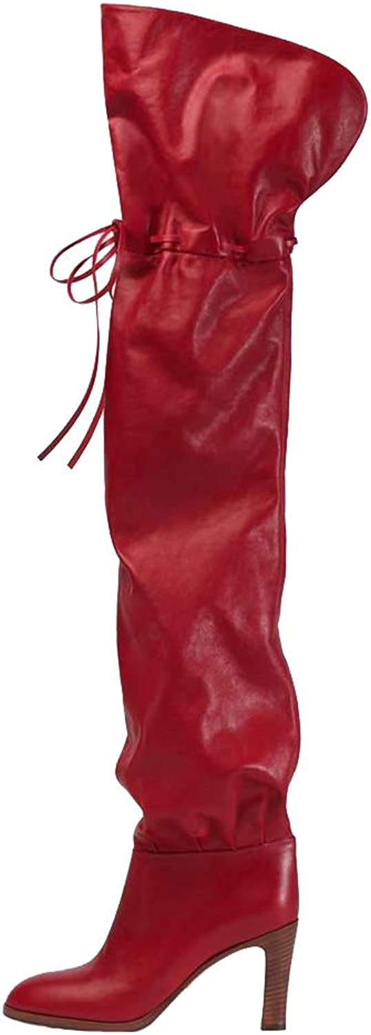 Themost Thigh High Boots Womens Over The Knee Boot Wide Calf Leather High Heel Booties