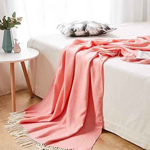 LYXG Manta Tejida a Mano,Cálida de Yoga Regalos de Decoración,para Ver la Televisión en la Silleta, Sofá y Cama (Color : Pink, Size : 130 * 170cm)