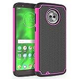 Moto G6 Case, SYONER [Shockproof] Defender Phone Case Cover for Motorola Moto G6 (G 6th Generation) [Hot Pink]