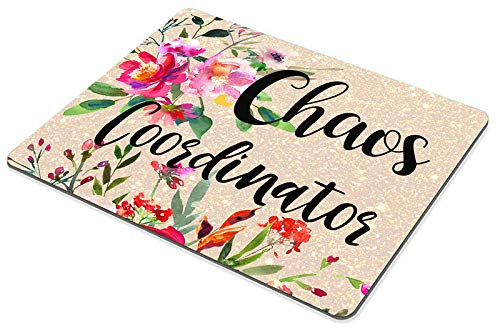 Smooffly Funny Quote Chaos Coordinator Mouse Pad, Desk Accessories, Quote Mouse Pad, Office Decor, Watercolor Floral Mouse Pad, Office Supplies Photo #5