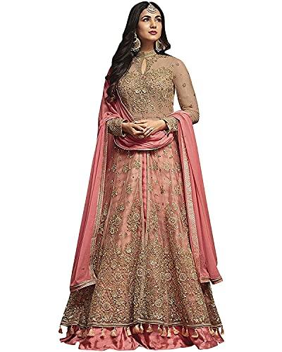 RE Enterprise Women's Peach Color New Latest Net Anarkali Stylish Indian Ethnic wear Ladies semistitch Heavy Gown with Dupatta