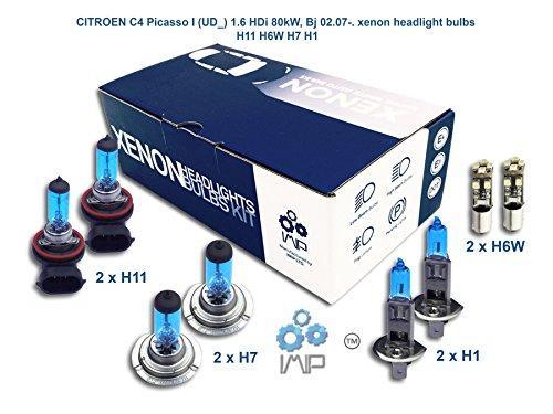 Ampoules de phares xénon lumineux| DIY, Kit simple d'utilisation | Compatible H11 H7 H1 Plus ampoules éclairage latéral gratuites H6W