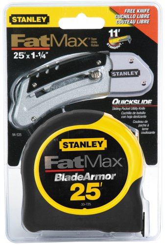 Stanley 94-535 25-Foot FatMax Tape Rule with Free QuickSlide Knife