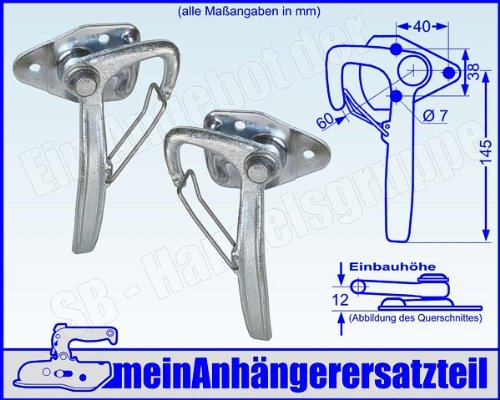 Winkelhebelverschluss Bordwandverschluss Set Bordwandverschlüsse Gr. 0