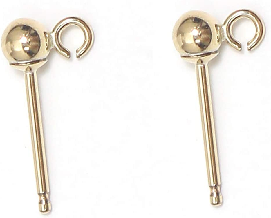beadsnice 14k Gold Filled Earring 3mm Ball Post with Open Ring Ear Nut Backing Included