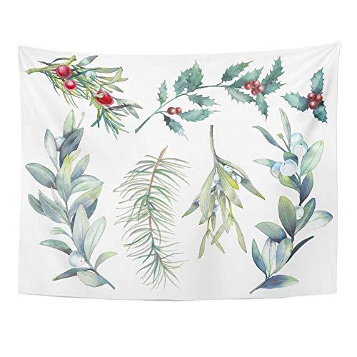 ShiHaiYunBai Wandtapijt Muur Opknoping Aquarel Kerst Planten Botanische Takken Bessen Vuren Hulst Maretak 60 x 80 Home Decor Art Tapestries voor Slaapkamer Woonkamer Dorm Appartement