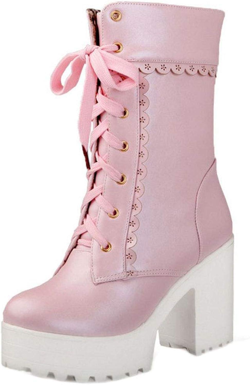 CarziCuzin Women Fashion Half Boots Block High Heel