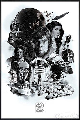 Star Wars 40th Anniversary Poster Montage (93x62 cm) gerahmt in: Rahmen schwarz