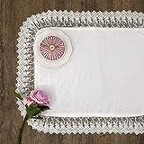 AT17 Tovaglietta Boutis con Pizzo su Tulle Shabby Chic 35x45 Colore Bianco