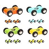 TOP BRIGHT 12er Pack Fahrzeuge Set, Holz Autos Geschenkset, Spielzeugautos für Kinder