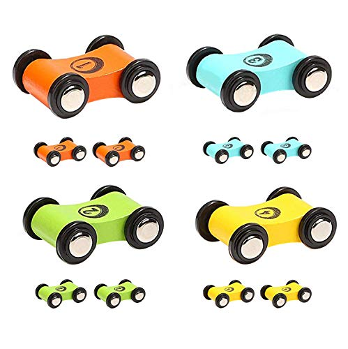 TOP BRIGHT Wooden Car Ramp Race Track Toy Toddler Car Playset Replacement Cars 12 Pack