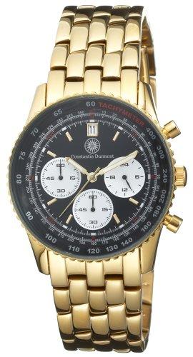 Constantin Durmont Admiral Black admbk–Orologio cronografo da uomo al quarzo con cinturino in acciaio inox dorato