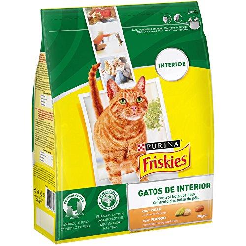Purina Friskies Control Bolas de Pelo Pienso para Gato de Interior Pollo y Verduras 4 x 3 Kg