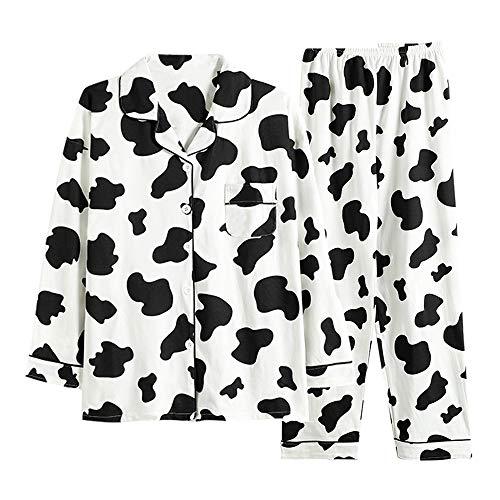 パジャマ ルームウェア 上下セット 二重 長袖 ロングパンツ レディース 牛柄プリント 前開き 衿付き ポケット付き 秋冬 綿 アイマスク付き