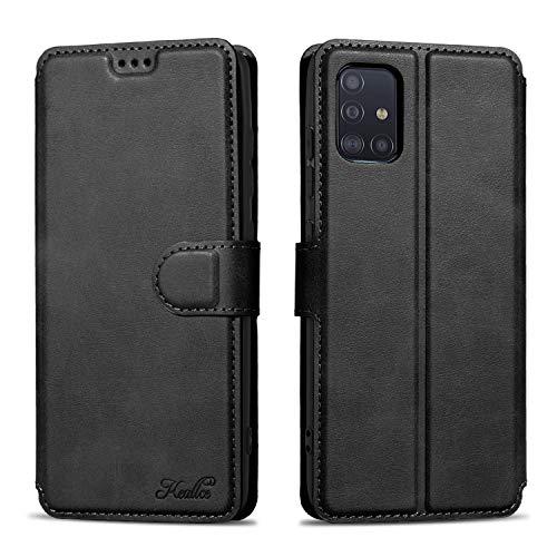 Keallce für Samsung Galaxy A51 4G Hülle Handy Lederhülle, für Galaxy A51 PU Leder Hülle Brieftasche Handytasche Cover Kompatibel für Samsung Galaxy A51 Ledertasche-6.5 Zoll, Schwarz
