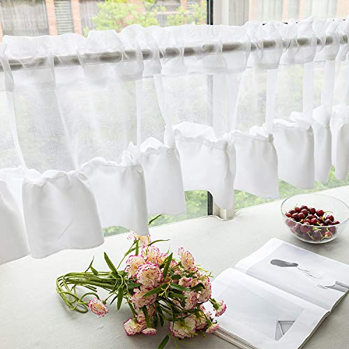 Window Curtain Valance White 59x18inch, Rod Pocket Sheer Valance for Home Kitchen Window Treatments (59x18 inch, White B)