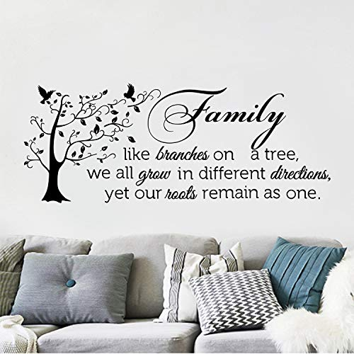 decalmile Pegatinas de Pared Frases Family Like Branches on a Tree Vinilos Decorativos Letras Árbol Familia Adhesivos Pared Salón Dormitorio Comedor