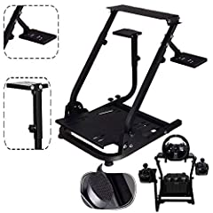 Compatible model:Logitech G25, G27, G29, G920;Thrustmaster T300RS, TX F458 & T500RS; All Fanatec Wheels; Other wheels can be clamped on. Design: This heavy-duty steering wheel stand built with carbon steel material, ensuring a sturdy and durable stan...