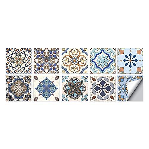 Estilo turco Azulejos Adhesivos Cocina e Baño Pegatinas de Baldosas Vinilos decorativo de Muebles Vinilos pared Baño Cocina Azulejos,10 Piezas -20x20cm
