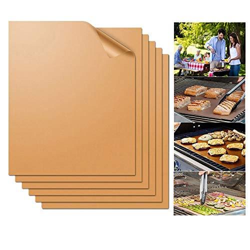 Grill Mat, De Koper Keuken Koper Grill Mat Set van 2 Basting Brush 100% Niet Stick BBQ Grill Mat Goud Makkelijk schoon te maken en Herbruikbaar Gebruik op BBQ en voor Bakken