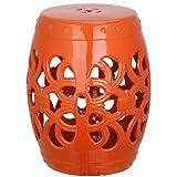 Safavieh Castle Gardens Collection Imperial Vine Orange Glazed Ceramic Garden Stool