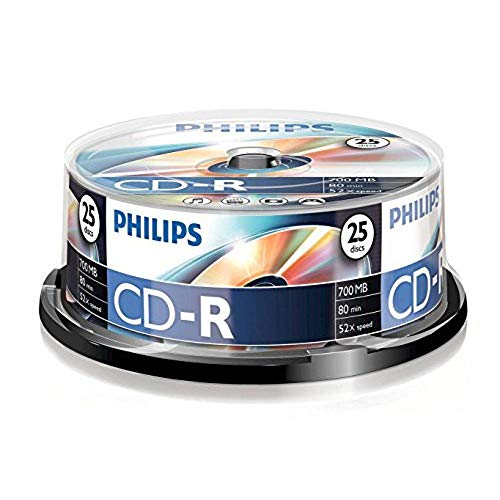 Philips CD-R CR7D5NB25/00 - CD-R vírgenes, 700 MB, 80 min, 52x, pack de 25 🔥