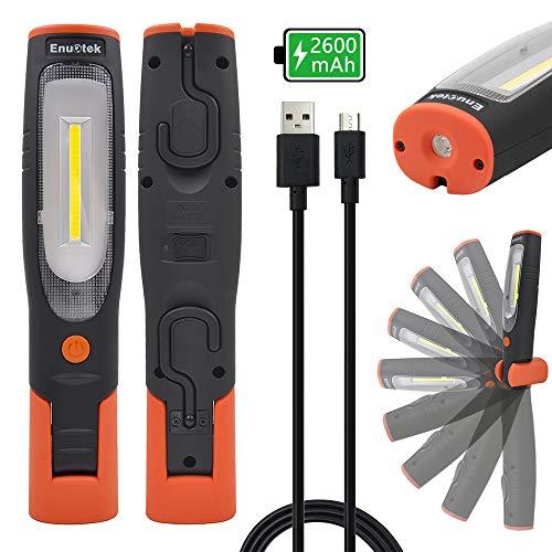 ENUOTEK Lampara Linterna de Trabajo de Mano Taller COB LED 4W Recargable USB Portatil Muy Potente con Bateria de Litio 2600mAh, Imanes Potentes y Dos Ganchos