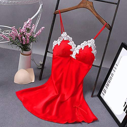 Wxxly Satin Damen Nachthemd Sexy Negligee Spitze Dessous für Frauen Nachtwäsche Sleepwear Lingerie Babydoll,Rot,XXXXL