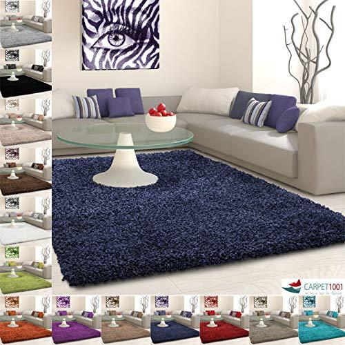 Hochflor Langflor Shaggy Teppich Uni Farbe Verschiedene Größen und Farben - Navy, 80x150 cm