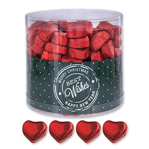 Günthart 150 Stück rote Schokoladen Herzen mit Nougatfüllung | Nougatcreme Kaffeehaus | Schokoladenherzen rot Best Wishes | Give away | rote Herzen aus Schokolade | Best Wishes (1,2 kg)