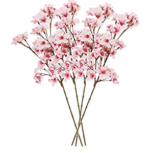 Callu 4Pcs Artificial Flowers Peach Blossom Simulation Peach Branches Flowers Silk Peach Flowers Bouquets Faux Spring Peach Artificial Orchid Fake Plants for Wedding Home Indoor Decorative