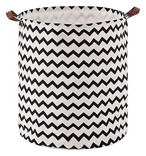 Lzpzz Cesta de lavandería para el hogar, patrón de ondas negras plegable impermeable juguete revista necesidades diarias cubo de almacenamiento
