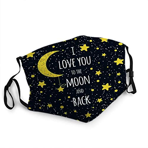 ETHAICO Fillter Cloth for Adult and Kids,Text I Love You to The Moon and Back St Valentines Day Inspirational Quote Yellow Sky,Reusable Windproof Cloth Half Face Double Protection