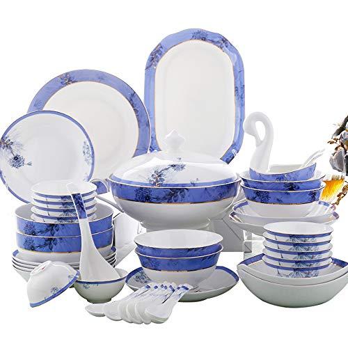 Juego De Vajilla De Porcelana China De 43 Piezas, Platos De Porcelana De Cocina, Cuencos, Olla De Sopa Binaural,...
