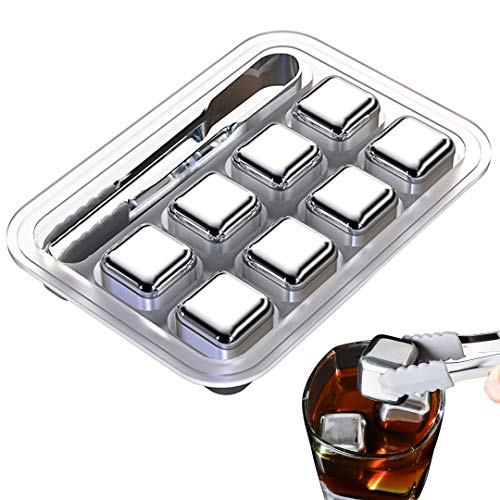 Stainless Steel Ice Cubes Reusable, 8 piece Whiskey Ice Cubes Set with Silicone Head Tongs and Ice Cube Trays (Pack of 8)