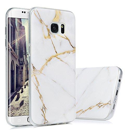 Kasos S7 Edge Marmor Hülle, Marble Handyhülle : Silikon Case Weich TPU Huelle mit IMD Technologie für Samsung Galaxy S7 EdgeWeißes Gold