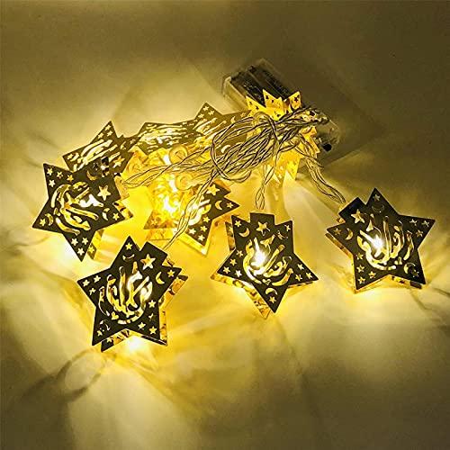 Cadena de luces LED musulmán Ramadán, farolillos de seda, luces LED, estrella de cinco puntas, bola marroquí, farolillos, decoración principal, para festivales, fiestas, 3 m de longitud, USB G