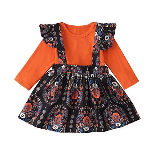 Neugeborenen Set Baby Mädchen Strampler + Blumen Hosenträger Rock Outfits 2 Stück Set, Ethnischer Druck Röcke Und Orange Top Baby Mädchen Festlich Born Kleid Langarm Frühling Sommer