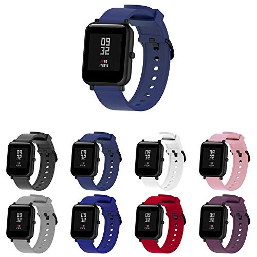 Pulseira Silicone para Huami Amazfit Bip Lite - Galaxy Watch Active 40mm - Galaxy Watch 42mm - Amazfit GTR 42mm - Marca Ltimports (Azul Escuro)