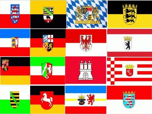 16 Deutsche Bundesländer auf 1ner Fahne Grösse 1,50x0,90m - FRIP –Versand®
