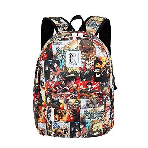 XYUANG Anime Cosplay backpack Attack On Titan Mochila de viaje unisex bolsa Bolso de escuela Color
