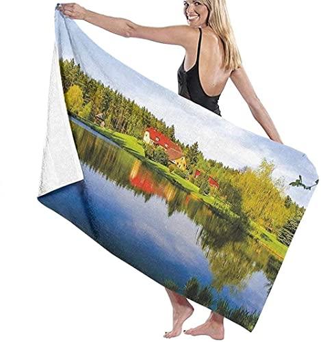 LUYIQ Toalla de Playa Antiarena de Microfibra para Hombre Mujer, Hermosa Vista al Lago -150x70cm, Toallas Baño Secado Rapido para Piscina, Manta Playa, Toalla Yoga Deporte Gimnasio