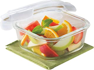 Borosil Klip N Store Glass Food Container, 800 ml Square, For Kitchen Storage With Air Tight Lid - Microwave Safe