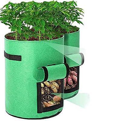 Tvird 2PCS Sacs de Culture pour Pommes de Terre, 10 Gallons Sacs à Plantes/Sac de Plantation Jardin pour Pommes de Terre Double Couche Tissu Non tissé Respirant avec Terre à Fenêtre -Marron/Vert