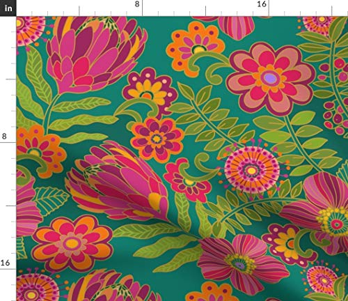 Spoonflower Fabric - Floral Mod Pink Flowers Retro Tropical Jewel Printed on Petal Signature Cotton Fabric Fat Quarter - Sewing Quilting Apparel Crafts Decor