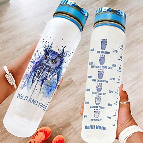 Knowikonwn Funny Owl - Botella de agua con correa de transporte, reutilizable, apta para gimnasio/camping, color blanco 9, 1000 ml