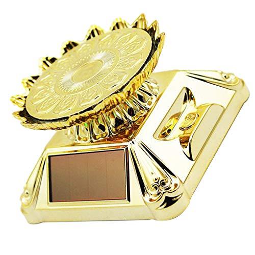 Sharplace Présentoir Rotatif Éclairage à Table Tournante Solaire en Forme de Lotus/Rond - Plateau de Lotus doré